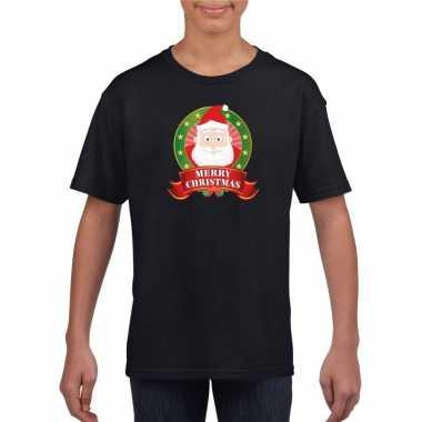 Zwart kerst t shirt voor kinderen met kerstman printfoute