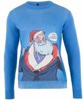 Blauwe foute kersttrui super santa