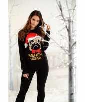 Dames foute kersttrui zwart met mopshond