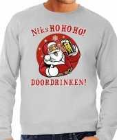 Foute foute kersttrui bier drinkende kerstman grijs voor heren