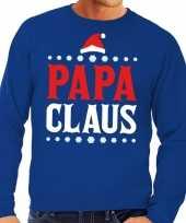 Foute foute kersttrui blauw papa claus voor heren