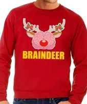 Foute foute kersttrui braindeer rood voor heren