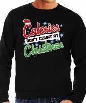Foute foute kersttrui calories dont count christmas zwart voor heren