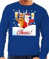 Foute foute kersttrui cheers met dronken kerstman blauw heren