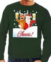 Foute foute kersttrui cheers met dronken kerstman groen heren