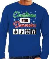 Foute foute kersttrui christmas for dummies blauw voor heren