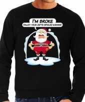 Foute foute kersttrui im broke enjoy your gifts zwart voor heren