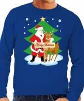 Foute foute kersttrui kerstman en rendier rudolf blauw heren