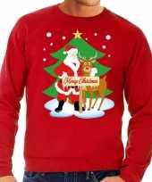 Foute foute kersttrui kerstman en rendier rudolf rood heren