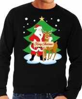 Foute foute kersttrui kerstman en rendier rudolf zwart heren