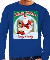 Foute foute kersttrui merry shitmas blauw voor heren