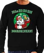 Foute foute kersttrui niks ho ho ho doordrinken bier zwart voor heren