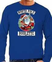 Foute foute kersttrui outfit northpole roulette blauw voor heren