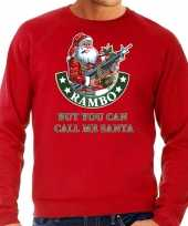 Foute foute kersttrui outfit rambo but you can call me santa rood voor heren