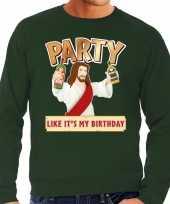 Foute foute kersttrui party jezus groen voor heren
