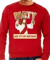 Foute foute kersttrui party jezus rood voor heren