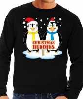 Foute foute kersttrui pinguin vriendjes zwart heren