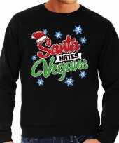 Foute foute kersttrui santa hates vegans zwart voor heren