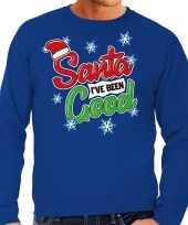 Foute foute kersttrui santa i have been good blauw voor heren