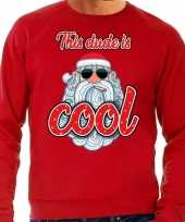 Foute foute kersttrui stoere kerstman this dude is cool rood heren