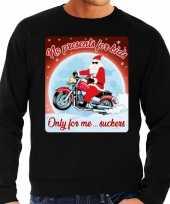 Foute foute kersttrui voor motorlief hebbers no presents zwart heren