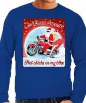 Foute foute kersttrui voor motorliefhebbers hot chicks blauw heren