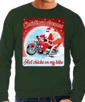 Foute foute kersttrui voor motorliefhebbers hot chicks groen heren