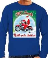 Foute foute kersttrui voor motorliefhebbers mc santa blauw voor heren