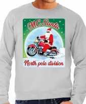 Foute foute kersttrui voor motorliefhebbers mc santa grijs voor heren