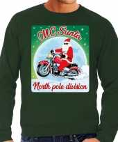Foute foute kersttrui voor motorliefhebbers mc santa groen voor heren