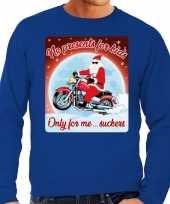 Foute foute kersttrui voor motorliefhebbers no presents blauw heren