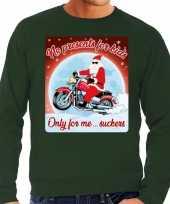 Foute foute kersttrui voor motorliefhebbers no presents groen heren