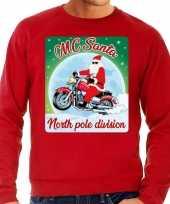 Foute foute kersttrui voor motorliefhebers mc santa rood voor heren