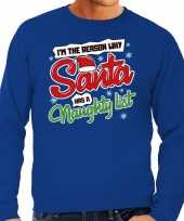 Foute foute kersttrui why santa has a naughty list blauw voor heren