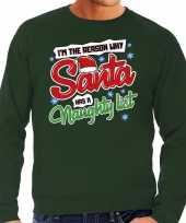 Foute foute kersttrui why santa has a naughty list groen voor heren