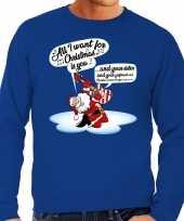 Foute foute kersttrui zingende kerstman met gitaar blauw voor heren