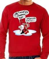 Foute foute kersttrui zingende kerstman met gitaar rood voor heren