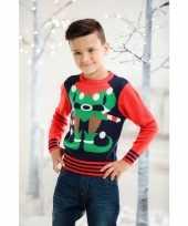 Foute kersttrui elf rood blauw voor kinderen