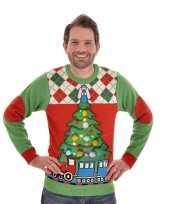 Foute kersttrui met licht tree and train voor mannen