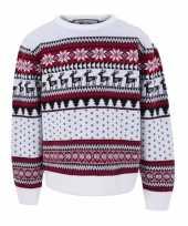 Foute kersttrui voor kinderen met nordic print wit