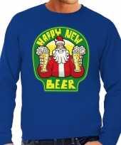 Foute nieuwjaar foute kersttrui happy new beer bier blauw heren