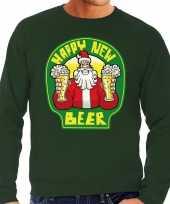 Foute nieuwjaar foute kersttrui happy new beer bier groen heren