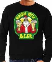 Foute nieuwjaar foute kersttrui happy new beer bier zwart heren