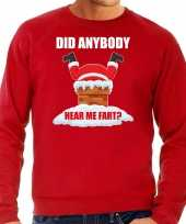 Fun foute kersttrui outfit did anybody hear my fart rood voor heren