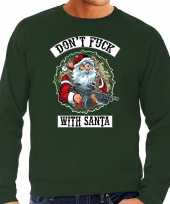 Grote maten foute foute kersttrui outfit dont fuck with santa groen voor heren