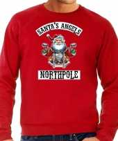 Grote maten foute foute kersttrui outfit santas angels northpole rood voor heren