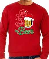 Grote maten ho ho hold my beer fout foute kersttrui outfit rood voor heren