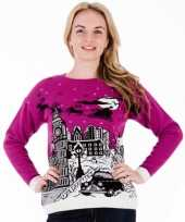 Paarse foute kersttrui london voor dames