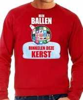 Rinkelende kerstbal sweater foute kersttrui mijn ballen rinkelen rood voor heren
