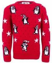 Rode meisjes foute kersttrui met pinguins